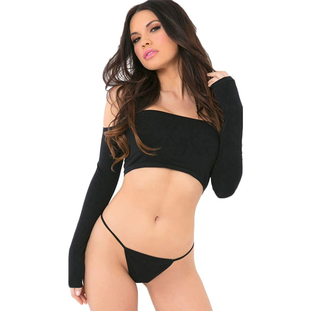 f42143e19fdab Amazon.com  Lmx+3f 1set of Women Off-Shoulder Sexy Lingerie Long Sleeved  Solid Color Underwear Sleepwear with G-String  Clothing