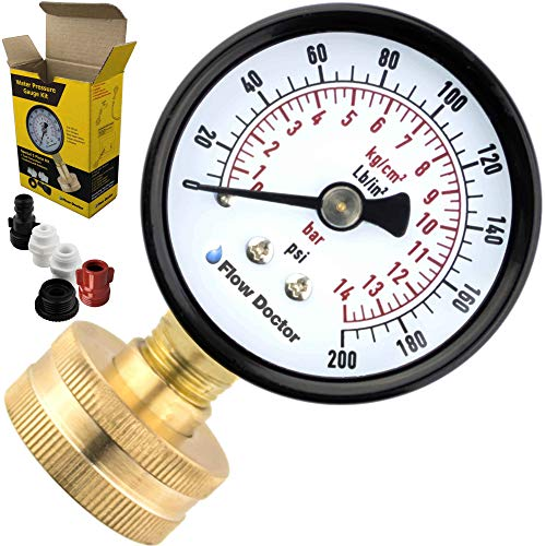 - Flow Doctor Water Pressure Gauge Kit, All Purpose, 6 Parts Kit, 0 To 200 Psi, 0 To 14 Bars, Standard 3/4