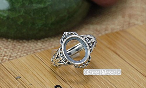 Ring Blank for 8x10mm Oval Cabochons Thai Sterling Silver Adjustable Band Ring Base JZ005 - Oval Ring Blank