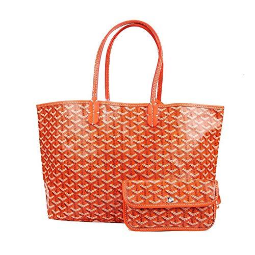 (Stylesty Fashion Shopping PU Tote Bag, Designer Shoulder Handbags with Key Ring (Large, Orange))