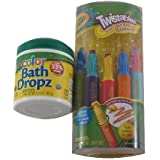 Crayola Bathtime Fun Bundle: 5 Twistables Color Swirl Bathtub Crayons & 60 Color Bath Dropz Tablets