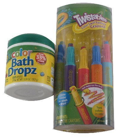 - Crayola Bathtime Fun Bundle: 5 Twistables Color Swirl Bathtub Crayons & 60 Color Bath Dropz Tablets
