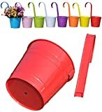 Mr. Garden 6 Inch Flower Pots Garden Pots Balcony Hanging Planter Iron Bucket Holders, 3pack, Red
