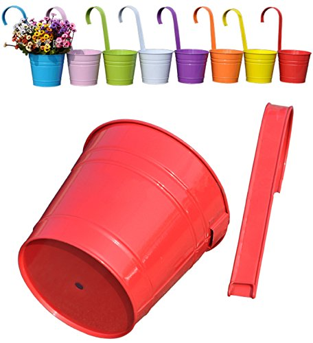 Mr. Garden 6 Inch Flower Pots Garden Pots Balcony Hanging Planter Iron Bucket Holders, 3pack, Red by Mr Garden
