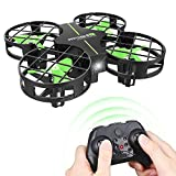 Dwi Dowellin Mini Drone Crash Proof RC Quadcopter One Key Take Off Nano Drones Toy for Kids Beginners Boys and Girls, Green