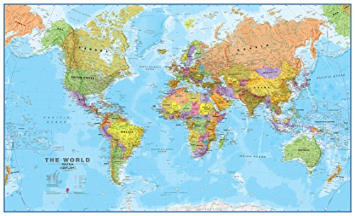 Maps International Giant World Map - Mega-Map Of The World - Front Lamination - 78 x 46