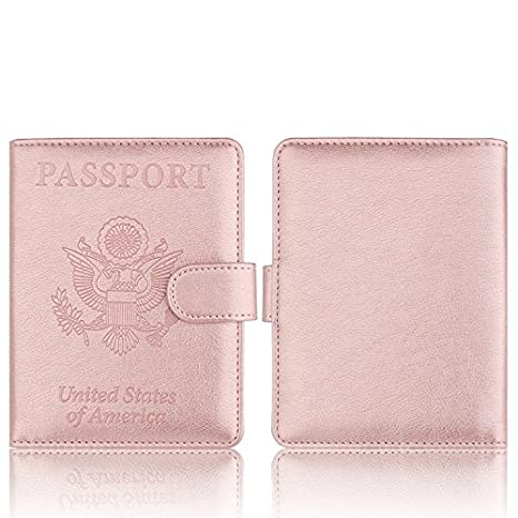 Amazon.com: Cartera de piel para pasaporte con bloqueo RFID ...