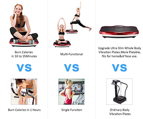 iDeer Vibration Platform Fitness Vibration Plates,Whole Body Vibration Exercise Machine w/Remote Control &Bands,Anti-Slip Fit Massage Workout Vibration Trainer Max User Weight 330lbs (Red09006) by IDEER LIFE (Image #1)