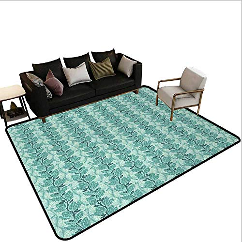 AlEASYHOME Nursery Rugs for Boys, Oaks with Acorns Forest Design with Lush Leaves and Flourishing Branches, 3′x3.9′ Easy Care Play Mat, Slate Blue Sea Green