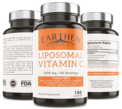 Liposomal Vitamin C 1400MG Per Serving 180 Capsule 90 Serving Non GMO Fat Soluble Antioxidant Immune System Support