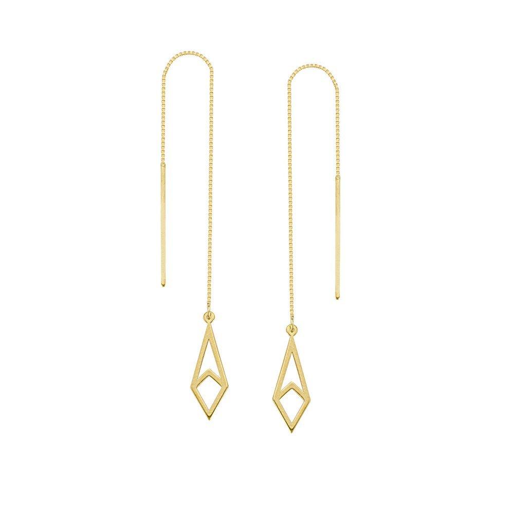 14ct Or jaune Draw The Line Harper géométrique Boîte Chaîne Enfile-aiguille Boucles d'oreilles JewelryWeb MIE349585Y