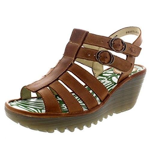 Womens Fly London Ygor Rug Wedge Beach Gladiator Vacation Heeled Sandals Camel lsP3HtYE