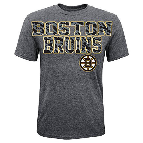 NHL Boston Bruins Large and In Charge S/S Tee, Medium, Dark Grey Heather