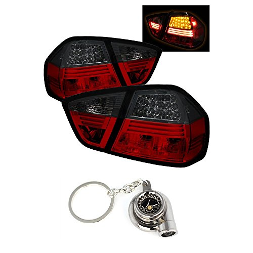 BMW E90 3-Series 4Dr LED Tail Lights Red And Smoke Lens+Free Gift Key Chain Spinning Turbo Bearing