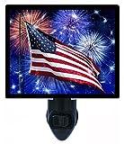 Night Light - USA Flag Fireworks - Patriotic - LED NIGHT LIGHT