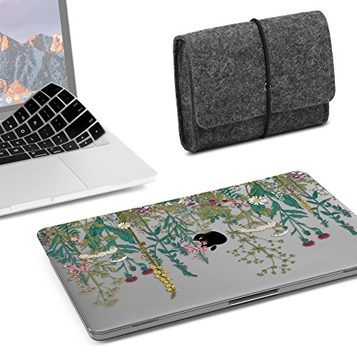 GMYLE MacBook Pro 13 inch Case 2018 2017 2016 Release A1989/A1706/A1708, Plastic Hard Shell, Fabric Storage Bag Travel Pouch, Keyboard Cover Compatible Newest Mac Pro 13 Inch - Floral Garden Set