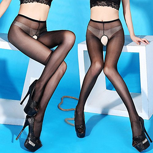 XiaoGao_ Mi-chaussettes fines barboteuses transparent brillant