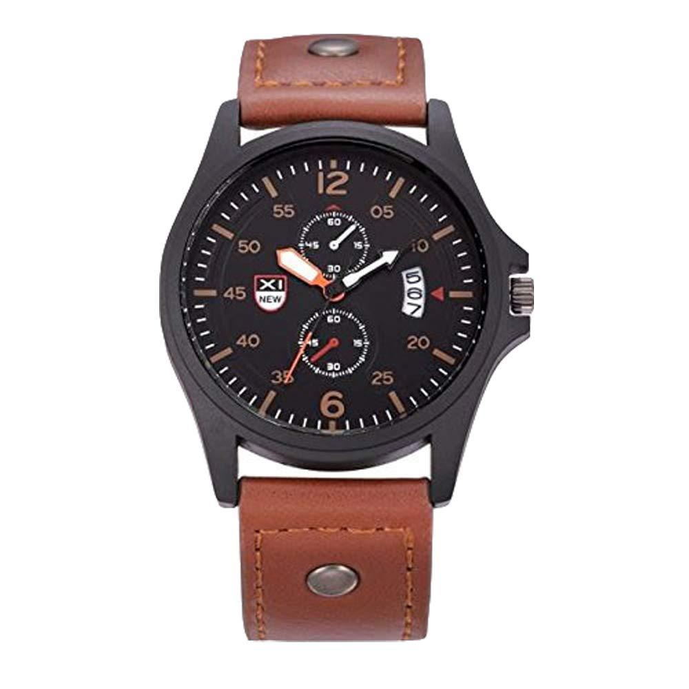 Zaidern Men Watches,Hot Men's Watch Luxury Sport Analog Quartz Wristwatches Classical Retro Simple Design Business Dress Waterproof Date Military Leather Strap Round Dial Wrist Watches Clock