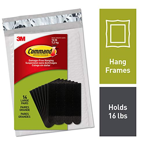 Command Large Picture Hanging Strips, Decorate Damage-Free, 14 pairs (36 strips), Indoor Use, Easy to Open Packaging (PH206BLK-14NA)