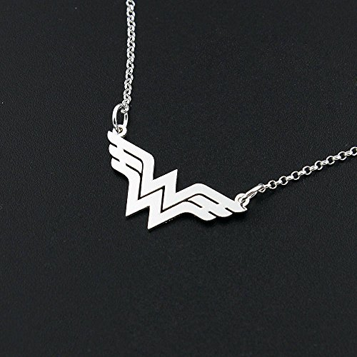 Dainty Delicate Wonder Woman necklace Bar sterling silver Wonder Woman symbol – super hero – gift for women – girl jewelry – strong woman – amazing mo…