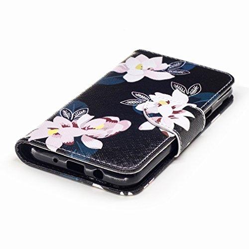 Yiizy Samsung Galaxy J3 (2017) Custodia Cover, Fiore Rosa Design Sottile Flip Portafoglio PU Pelle Cuoio Copertura Shell Case Slot Schede Cavalletto Stile Libro Bumper Protettivo Borsa