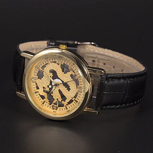 SIBOSUN Wrist Watch Skeleton Chinese Dragon Pattern Mens Hollow Gold Dial Luminous Hands Leather Quartz