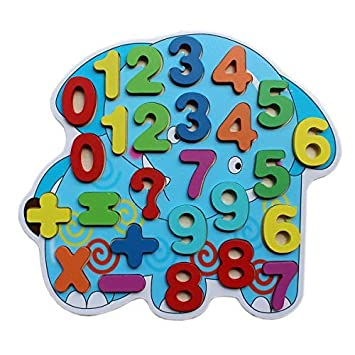 Tootpado Wooden Number Puzzle Board - Elephant