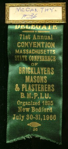 Massachusetts Bricklayers 71st Annual Convention Delegate pin 1966 (Delegate Pin)