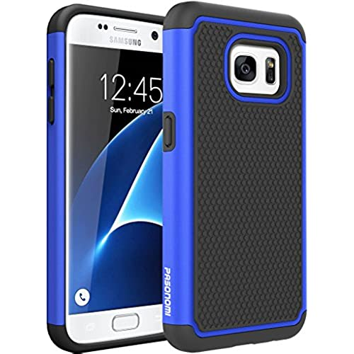 S7 Case, Pasonomi [Slim Fit] [Shock Absorption] Armor Hybrid Dual Layer Defender Protective Case Cover for Samsung Galaxy S7 (Blue) Sales