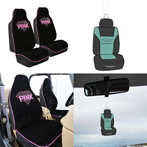 FH Group FB151102 Rhinestone Diamond Accessory Set High Back Bucket Pair Set Seat Covers w. Free Air Freshener- Fit Most Car, Truck, Suv, or Van by FH Group