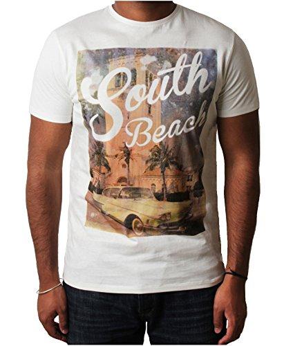 Threadbare Herren T-shirt Grafik Foto Print Kurzarm Baumwolle Sommer 'South Beach