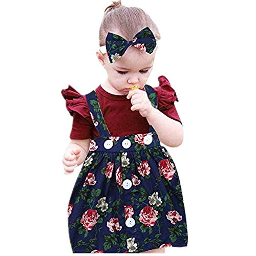 NUWFOR 3Pcs Baby Toddler Girls Kids Overalls Skirt +Headband+Romper Clothes Outfits(Navy,6-12Months)