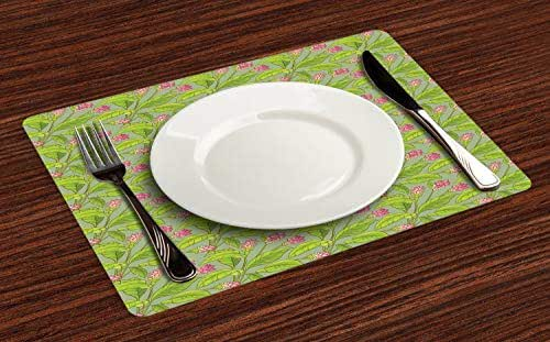 Ambesonne Botanical Place Mats Set of 4, Floral Pattern Cartoonish Turmeric Flower Blossom, Washable Fabric Placemats for Dining Room Kitchen Table Decor, Pistachio Green Apple Green Pink