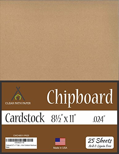 "Chipboard - 8.5 x 11 inch - .024"" Thick - 25 Sheets"