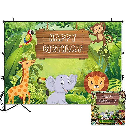 (Allenjoy 7x5ft Jungle Safari Theme Boys Birthday Party Backdrop Tropical Forest Rainforest Wild Animals Background Boy Cake Table Banner Photobooth)