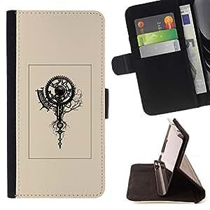 BullDog Case - FOR/LG Nexus 5 D820 D821 / - / beige poster retro clock engineer art /- Monedero de cuero de la PU Llevar cubierta de la caja con el ID Credit Card Slots Flip funda de cuer