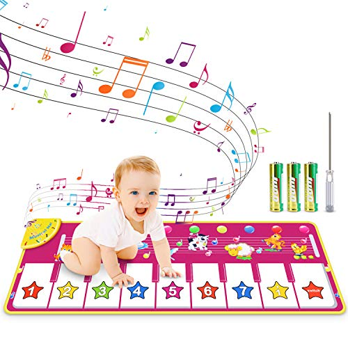 RenFox Kids Musical Keyboard Piano Mat, Electronic Music Play Blanket Dance Mat with 8 Different Animal Sound for Early…