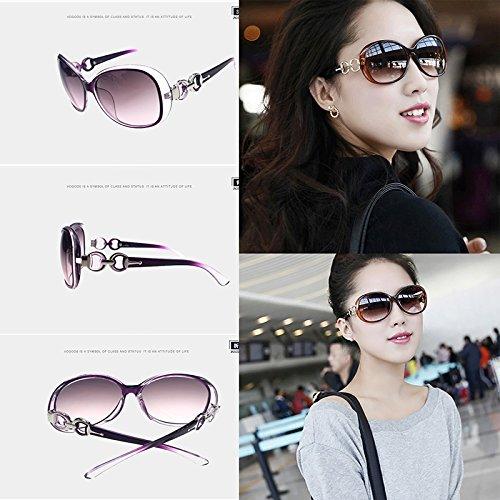 Brillante de Estilo UV400 Negro de Mujeres tamaño diseñador Hosaire del Gafas Sol Sombras Blanco clásico Gris Gran de de y Moda awgqOFB