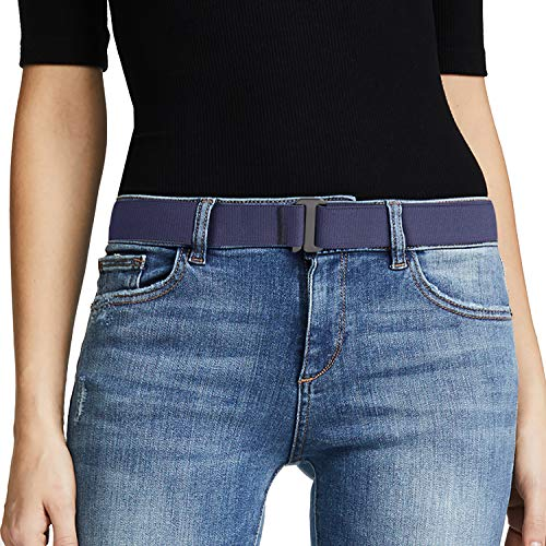 (No Show Women Stretch Belt Invisible Elastic Web Strap Belt with Flat Buckle for Jeans Pants Dresses.)