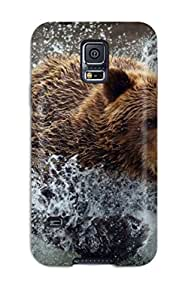 Flexible Tpu Back Case Cover For Galaxy S5 Bear Running In The River