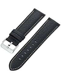 Hadley-Roma Men's MSM906RA-240 24mm Black Genuine Leather Watch Strap