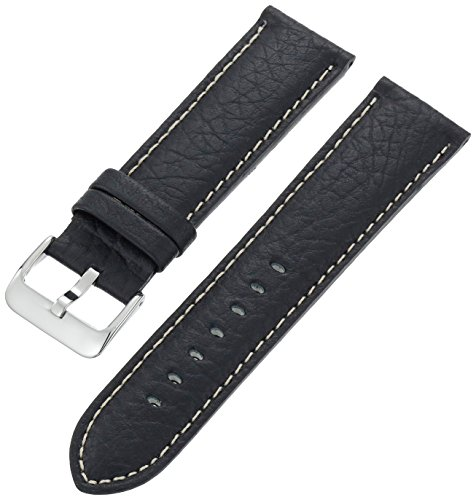 Hadley-Roma Men's MSM906RA-240 24-mm Black Genuine Leather Watch Strap