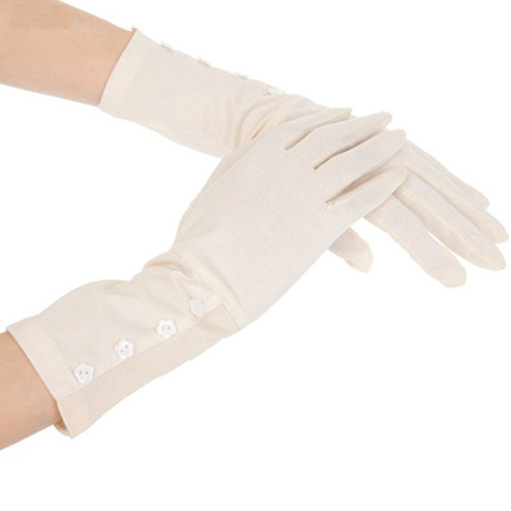 Kenmont Women Summer UV Protection Cotton Lace Gloves || Outdoor Sports Fishing Gloves || Nail Dryer Gloves, Beige Gloves ,Large