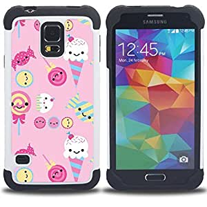 For Samsung Galaxy S5 I9600 G9009 G9008V - ice cream candy pink sweets lollipop Dual Layer caso de Shell HUELGA Impacto pata de cabra con im????genes gr????ficas Steam - Funny Shop -