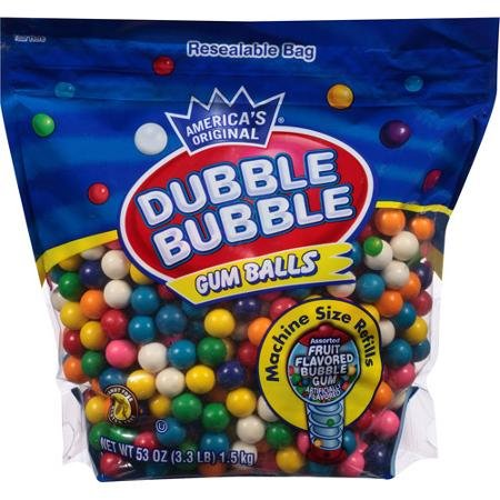 Dubble Bubble Assorted Fruit Flavored Gum Balls, 53 oz