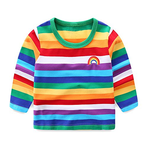LittleSpring Little Boys' T-Shirt Rainbow Size 5T Long (Rainbow T-shirt Sweatshirt)