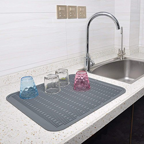 Silicone Dish Drying Mat with Bonus Storage Holders Thick St