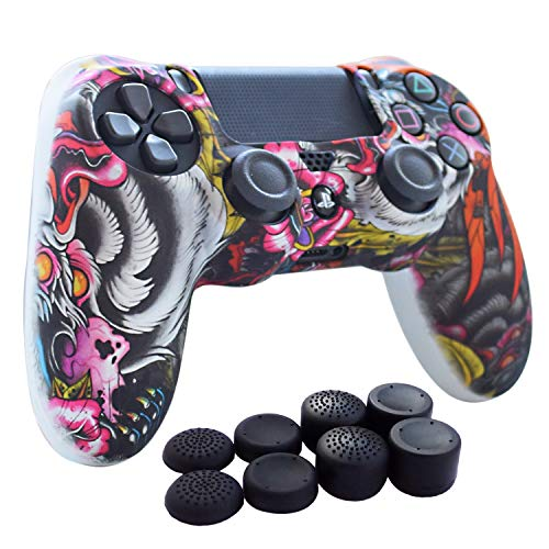 PS4 Controller,Hikfly Skin Silicone Gel Controller Cover Case Protector Compatible for PS4/PS4 Slim/PS4 Pro Controller (1x Controller Cover with 8 x FPS Pro Thumb Grip Caps)(White Paw)