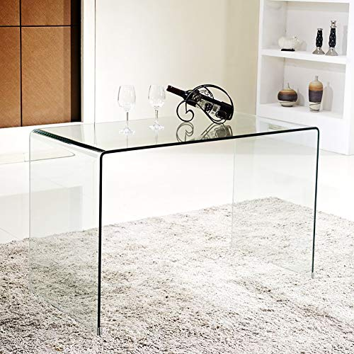SMARTYK Transparent Glass Dining Table,Clear Bent Modern Home Office Furniture,Tempered Glass Coffee Table,Rectangle Kitchen Table with Rounded Edges Desks (43.3x13.78x29.52 inch)