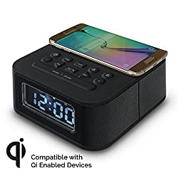 IRISTIME Bluetooth 4.0 Wireless Speaker, Portable Rechargeable Stereo Speaker with Universal QI Wireless Charger,Enhanced Bass,Alarm Clock,TF Card , FM Radio, AUX in and 10W Output